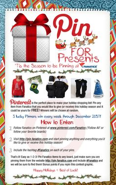 It's never too early to start your Holiday shopping (and pinning)! We're giving away 3 presents every week through December 21! #Fanatics #PinForPresents Terms & Conditions: http://fanaticssweeps.com/pin_for_presents/ #Fanatics