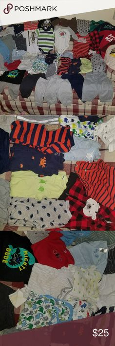 "Baby boy clothes 0-3 months. Some say 0-3,3-6 or, 3-9! All used. One outfit, which the sleeve does have a light stain. I don't have bleach to clean it. But easily fixable.38 items total, $25 for the whole lot. 8 long sleeves, to the right. 1 zip up sweatshirt, bottom right corner. 15 short sleeve, to the left. 6 footy pjs. 1 pair of shorts. 1 outfit ""mighty dude"". 6 pairs of pants. $3 per item or bundle price depending on how many items. These items are cross posted! I will go by the time on…"