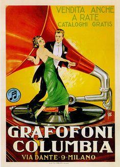 "TARGA VINTAGE ""GRAFOFONI COLUMBIA"" Pubblicità, Advertising, Poster, Plate, Retro"