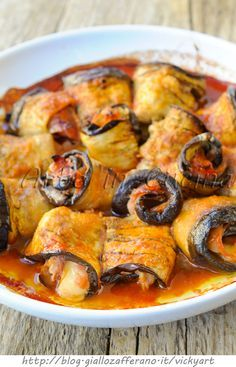Involtini di melanzane farciti in padella o al forno - Eggplant rolls stuffed fried or baked - vickyart arte in cucina