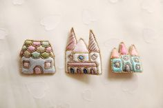 Pin a fabric castle onto your blazer. Chez Aya pins.