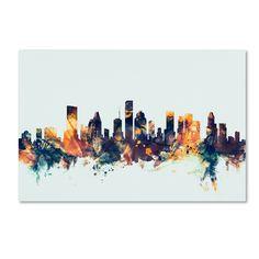 Michael Tompsett 'Houston Texas Skyline Blue' Canvas Art