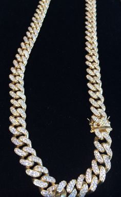 Yellow White Or Rose Gold Finish 11mm Miami Cuban Link Chain  - Thumbnail 2