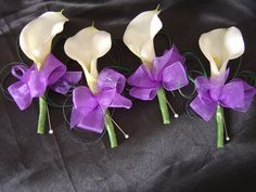 Calla Lilly Buttonholes Cadbury purple bow by I Never Thought Of That, via Flickr