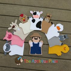 Set of 10 Farm *** Finger Puppets *** In The Hoop Machine Embroidery Applique Designs