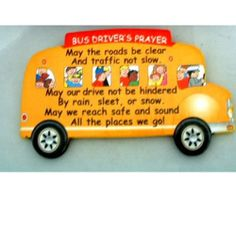 School Bus Driver's Prayer Magnet With Visor / Paper Clip Back School Bus Safety, School Buses, School Bus Driver, Bus Driver Appreciation, Teacher Appreciation Gifts, Teacher Gifts, Sunday School, Back To School, Teacher Poems