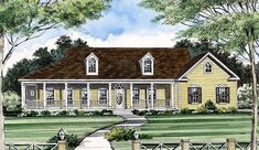 <ul><li>This country styled one-story home features a delightful wrap-around covered porch. Two gabled dormers add to its charm. </li><li>A center hall welcomes you to the open living room with its 10' high stepped ceiling and the full dining room.  Interior columns that separate the living room from the hall and the great room add to the feeling of openness. A media center that can be viewed from the kitchen and breakfast area fills one wall in the large great room, with its angled…