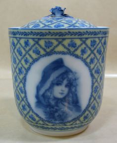 Gorgeous-Faux-Flow-Blue-Biscuit-Jar-Blue-Yellow-Ceramic-Canister-Lady-Medallions