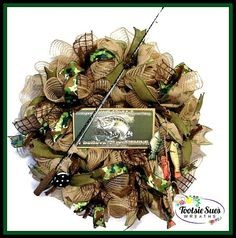 Fathers Day Sports Wreath Fishing Wreath by TootsieSuesWreaths