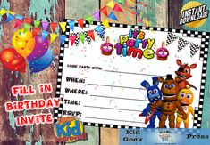 Five Nights At Freddys FNAF Birthday Invitation 5 Fnaf Photos Party Games