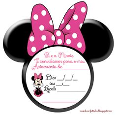 convite aniversario minnie orelhinha para imprimir grátis Mickey Mouse Toys, Minnie Mouse Pink, Minnie Mouse Birthday Decorations, Mickey Birthday, Mini Mouse, Mickey And Friends, Mouse Parties, Disney Parties, Holidays And Events
