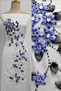 Wonderful Ribbon Embroidery Flowers by Hand Ideas. Enchanting Ribbon Embroidery Flowers by Hand Ideas. Silk Ribbon Embroidery, Embroidery Dress, Embroidery Stitches, Embroidery Patterns, Hand Embroidery, Sewing Patterns, Embroidery Supplies, Machine Embroidery, Embroidery Techniques
