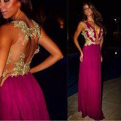 Luneé Couture vestido de festa fucsia magenta dourado renda