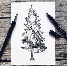 Except with birdseye as the mountain ❤ tattoo ideas idei tatuaje, t Tattoo Designs, Sketch Tattoo Design, Sketch Design, Tattoo Sketches, Drawing Sketches, Art Drawings, Pencil Drawings, Drawing Ideas, Tattoo Illustrations