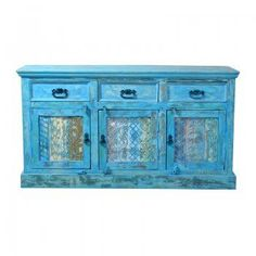 Ook dit Bleu-wash dressoir is gemaakt van oud hout