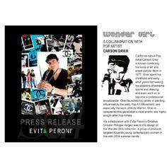 #CarsonPopArt X @evita__peroni Collaboration 2014. Checkout the entire Press Release @ http://carsongrier.tumblr.com/post/71150636586/evita-peroni-x-carson-pop-art-collaboration-2014