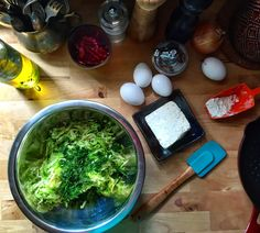 Making Courgette Fritters