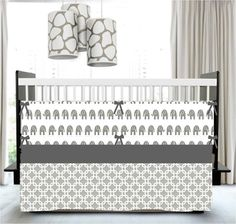 Lavender and Gray - Standard Crib Skirt  - Chevron, Premier Stripes, Ikat - Custom Modern Crib Bedding Set - Lilac Purple and Grey - LoveItSoMuch.com