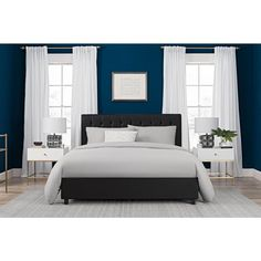Emily Black Upholstered Faux Leather Queen Size Bed Frame