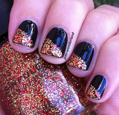 Cool take on the glitter French....