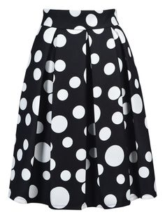 Black Polka Dot Midi Skirt | Choies