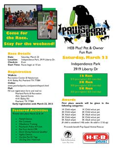 Paws in the Park 1K/3K/5K - Pearland, TX Tomorrow Saturday March 23!!