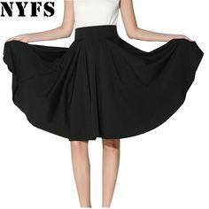 Midi Skirt 2017 Summer skirts womens High Waist Pleated A Line Skater Casual saias Knee Length Saia Petticoat office skirt