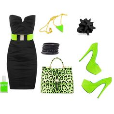 Neon Lime Green + Black, created by lilmissmegan on Polyvore