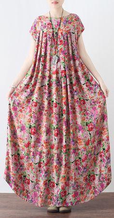 New-pink-prints-linen-caftans-casual-big-hem-linen-maxi-dress-vintage-short-slee. - - New-pink-prints-linen-caftans-casual-big-hem-linen-maxi-dress-vintage-short-sleeve-maxi-dresses 2019 New Collection Models Ladies-Receive New and Up-t. Maxi Dress With Sleeves, Cotton Dresses, Dresses Dresses, Woman Dresses, Dresses Online, Dress Outfits, Dress Patterns, Clothes Patterns, Blouse Designs