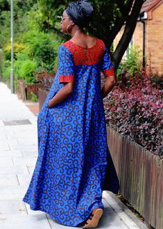 Vibrant Blue Ankara print maxi dress custom made with cotton Ankara fabric. Designed to give elegance and style fitting loosely to the body. It measures to an tall person. Fit and Style Product Shape: Maxi Dress Length: Fit: Loose fit Styl African Print Dresses, African Print Fashion, Africa Fashion, African Fashion Dresses, African Dress, African Prints, African Attire, African Wear, African Style