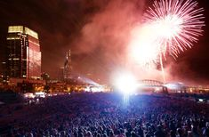 Nashville's 2014 July 4th fireworks, produced by Pyro Shows, Inc., includes more than 30,000 fireworks shells, totaling more than 16,000 lbs.