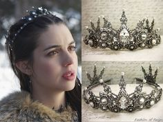 """In the episode (""""Tempting Fate"""") of Reign, Queen Mary wears this Rabbitwood & Reason Crystal and Pearl Renaissance Tiara. Mary Stuart, Royal Tiaras, Tiaras And Crowns, Reign Hairstyles, Reign Tv Show, Reign Mary, Reign Dresses, Reign Fashion, Renaissance Wedding"""
