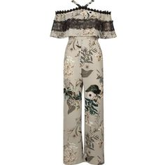 River Island Petite grey floral cold shoulder jumpsuit ($120) ❤ liked on Polyvore featuring jumpsuits, jumpsuit, grey, rompers/ jumpsuits, women, floral jumpsuit, wide leg romper jumpsuit, floral romper, wide leg jumpsuit and ruffled jumpsuits