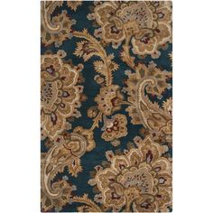 Hand-tufted Blue Floral New Zealand Wool Rug (2' x 3'), Size 2' x 3'