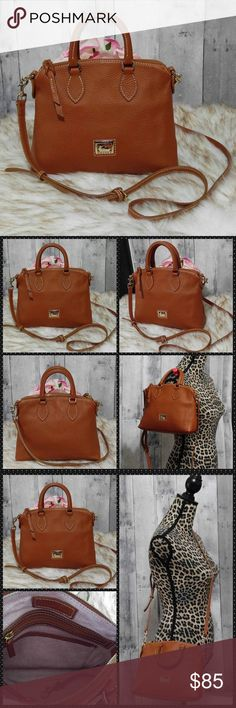 "Dooney & Bourke Saddle Crossbody Bag Beautiful saddle brown pebbled leather Dooney & Bourke Crossbody. Zips closed & has gold hardware  Comes w dustbag  Long strap is removable & Adjustable Like new condition!  10"" wide & 8"" tall  No trades ****** Dooney & Bourke Bags Crossbody Bags"