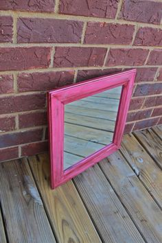 Pink Mirror /Dark Walnut Stain Accent / Distressed /Shabby Chic / Upcycled. $29.99, via Etsy.