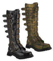 "1 1/4"" Heel 30 Eyelet Metal Plates Leather Steam Punk Knee Boot"