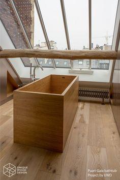 Unique Wood Design. Wooden bathtub Puari - Gaia in Oak. Paris rooftop
