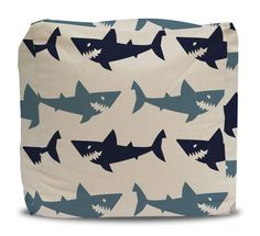 Pouf and Cover Blue Sharks - Choose Large or Small Size