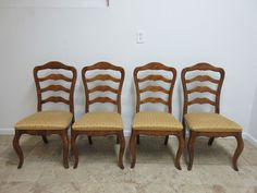 4 Ethan Allen Ladderback Country French Carved Dining Room Side Chairs 236
