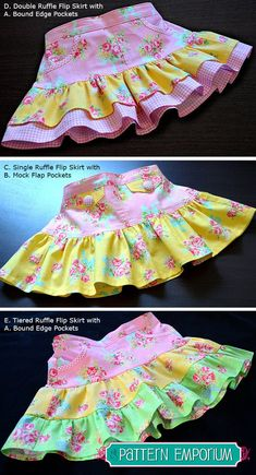 Discover thousands of images about Girls Ruffle Flip Skirt PDF Pattern Girl Dress Patterns, Skirt Patterns Sewing, Clothing Patterns, Skirt Sewing, Sewing For Kids, Baby Sewing, Sewing Clothes, Doll Clothes, Little Girl Dresses