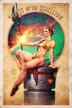Spirit of the Rebellion - Princess Leia   By: Carlos Valenzuela a/k/a, via deviantART (#princessleia #slaveleia #starwars)