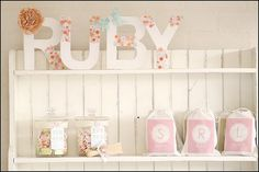 Button letters and sweet muslin bags