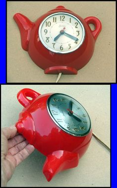 "Vintage 1940s-1950s Sessions Red Plastic ""Tea Pot"" Kitchen Clock from timestreasures on Ruby Lane"