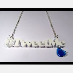 'Tweet Me' Acrylic Word Necklace. Show your creds with this cool '@Joyce Williams' word necklace, fashioned from 3mm laser-cut acrylic, with a twitter style tweetie bird charm hanging off. Can come in a combination of colours - all light blue, all white, blue words with white bird charm and vice versa. (If you would like it in a colour combination not available here, please send a message and we will endeavour to make it for you).