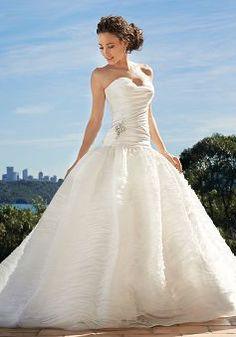 Glamorous Sweetheart Taffeta & Organza Chapel Train Ball Gown Bridal Gown With Ruching - 1300103700B - US$299.99 - BellasDress