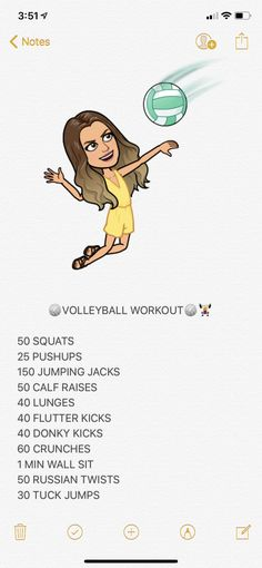 This is awesome helped me a lot Summer Body Workouts, Body Workout At Home, Gym Workout Tips, Fitness Workout For Women, At Home Workout Plan, Fun Workouts, At Home Workouts, Volleyball Skills, Volleyball Training