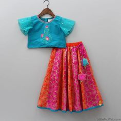 Pre Order: Blue Top With Colourful Lehenga Kids Frocks Design, Baby Frocks Designs, Kids Lehanga Design, Lehanga For Kids, Kids Indian Wear, Kids Ethnic Wear, Kids Dress Wear, Kids Gown, Frocks For Girls