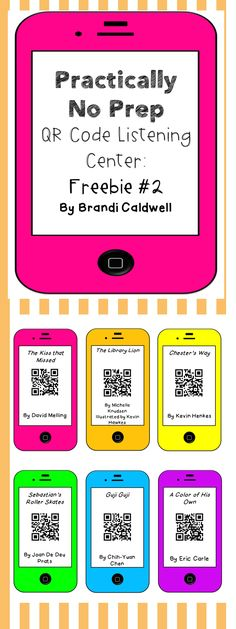 Practically No Prep QR code listening center. Print these adorable QR codes and then watch as your students beg to work at this center. Implement it, like, yesterday. Reading Stations, Reading Centers, Reading Workshop, Literacy Centers, Kindergarten Reading, Teaching Reading, Guided Reading, Learning, Teaching Ideas