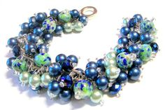 Cluster Bracelet with Lampwork Beads, Mint and Sapphire Blue Cha Cha Bracelet, Beach Wedding Jewelry, Bridesmaid Bracelet